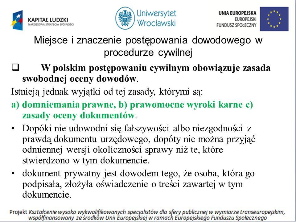 Miejsce i znaczenie postępowania dowodowego w procedurze cywilnej  W polskim postępowaniu cywilnym obowiązuje zasada swobodnej oceny dowodów. Istniej