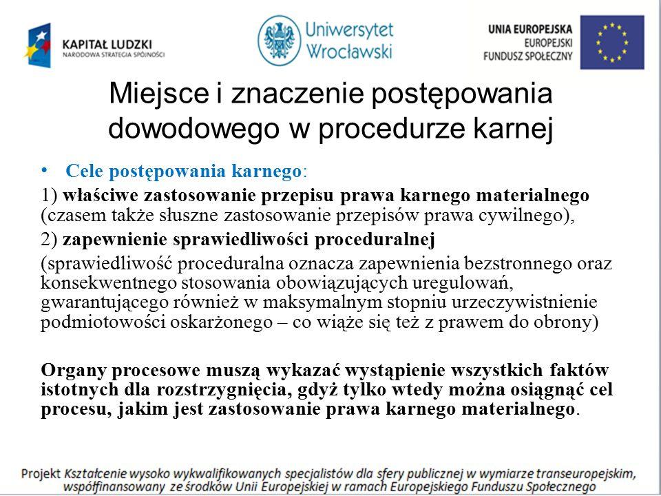 Miejsce i znaczenie postępowania dowodowego w procedurze karnej Cele postępowania karnego: 1) właściwe zastosowanie przepisu prawa karnego materialneg