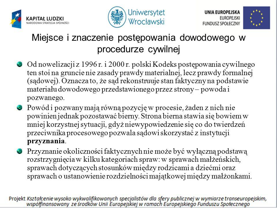 Miejsce i znaczenie postępowania dowodowego w procedurze cywilnej Od nowelizacji z 1996 r. i 2000 r. polski Kodeks postępowania cywilnego ten stoi na