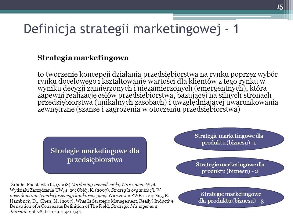 Definicja strategii marketingowej - 1 Strategia marketingowa to tworzenie koncepcji działania przedsiębiorstwa na rynku poprzez wybór rynku docelowego i kształtowanie wartości dla klientów z tego rynku w wyniku decyzji zamierzonych i niezamierzonych (emergentnych), która zapewni realizację celów przedsiębiorstwa, bazującej na silnych stronach przedsiębiorstwa (unikalnych zasobach) i uwzględniającej uwarunkowania zewnętrzne (szanse i zagrożenia w otoczeniu przedsiębiorstwa) 15 Strategie marketingowe dla przedsiębiorstwa Strategie marketingowe dla produktu (biznesu) -1 Strategie marketingowe dla produktu (biznesu) - 2 Strategie marketingowe dla produktu (biznesu) - 3 Źródło: Podstawka K., (2008) Marketing menedżerski, Warszawa: Wyd.