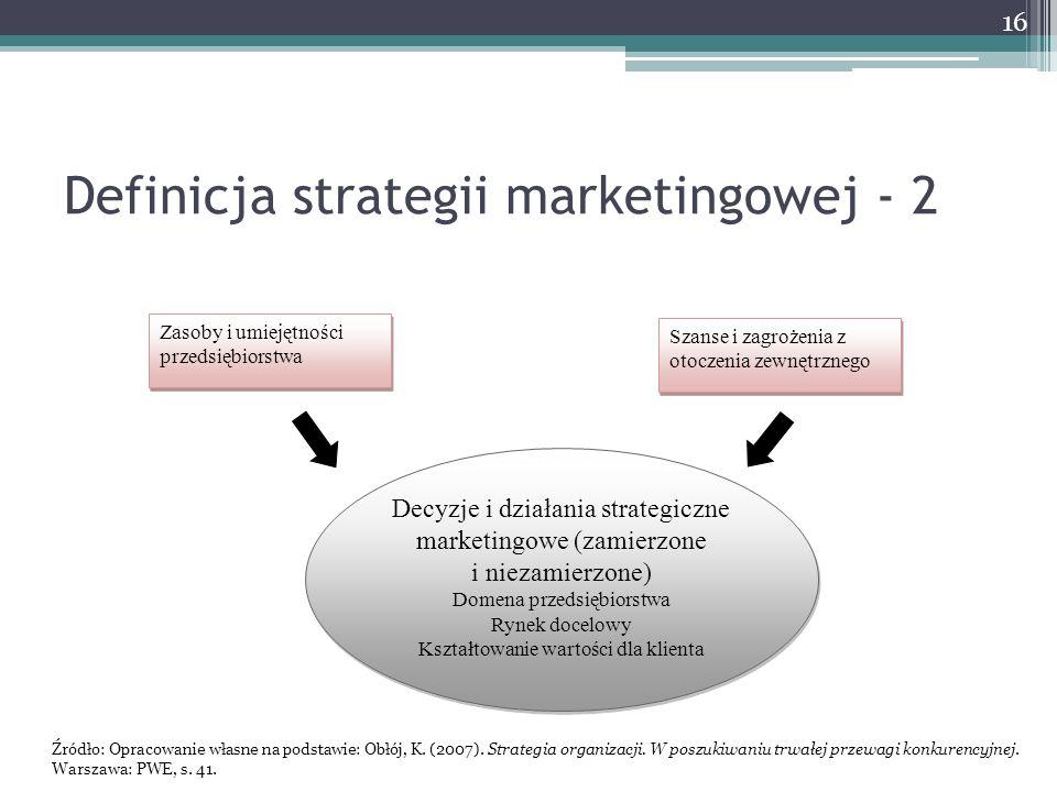 Definicja strategii marketingowej - 2 Zasoby i umiejętności przedsiębiorstwa Szanse i zagrożenia z otoczenia zewnętrznego Decyzje i działania strategiczne marketingowe (zamierzone i niezamierzone) Domena przedsiębiorstwa Rynek docelowy Kształtowanie wartości dla klienta Decyzje i działania strategiczne marketingowe (zamierzone i niezamierzone) Domena przedsiębiorstwa Rynek docelowy Kształtowanie wartości dla klienta Źródło: Opracowanie własne na podstawie: Obłój, K.