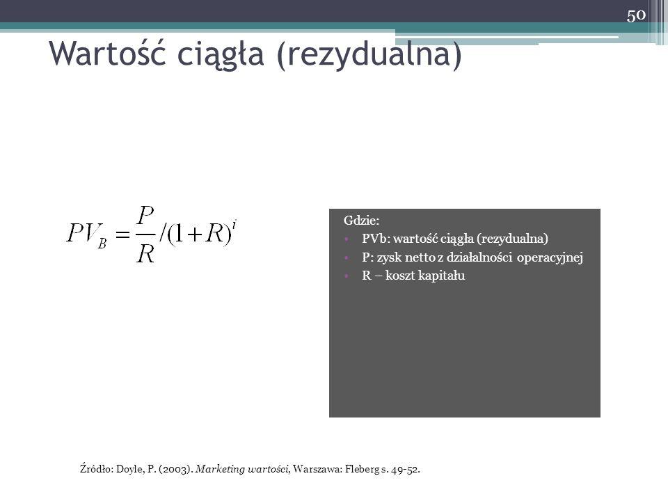 Wartość ciągła (rezydualna) Gdzie: PVb: wartość ciągła (rezydualna) P: zysk netto z działalności operacyjnej R – koszt kapitału 50 Źródło: Doyle, P.