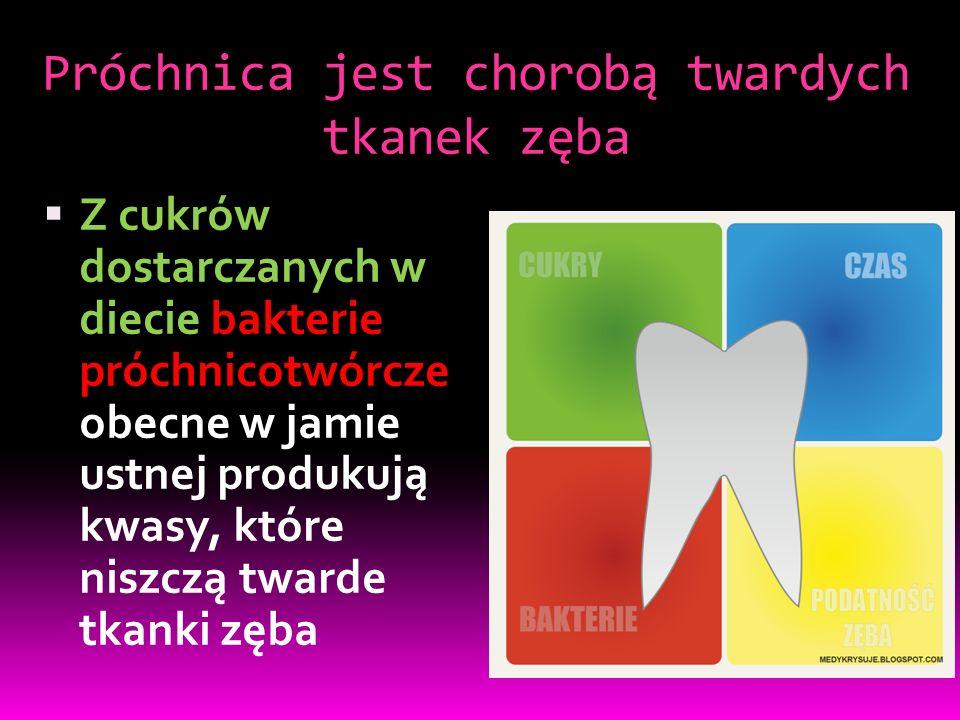 Próchnica jest chorobą twardych tkanek zęba  Z cukrów dostarczanych w diecie bakterie próchnicotwórcze obecne w jamie ustnej produkują kwasy, które niszczą twarde tkanki zęba