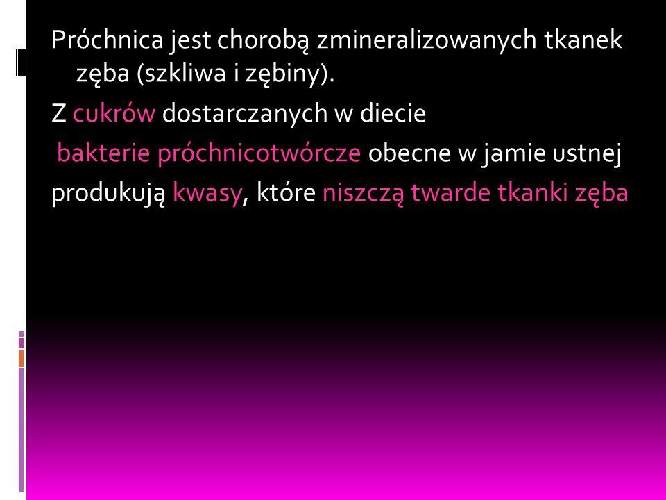 Częstość występowania próchnicy u dzieci w wieku 3 lat - 5% Szwecja w latach 2008 u dzieci w wieku 3 lat - 8% Finlandia 2001 – 3latki - 12,5% Szwajcaria 2003 – 2latki - 27,9% USA 1995-2002 – 5latki - 36,5% Litwa 2000 – 3latki - 38% Australia 2003-2004 – 4latki - 56,2% Polska 2003 – 3latki - 57,2% Polska 2009 – 3latki - Przeciętny trzylatek w Polsce ma 3,3 zęba dotkniętego próchnicą