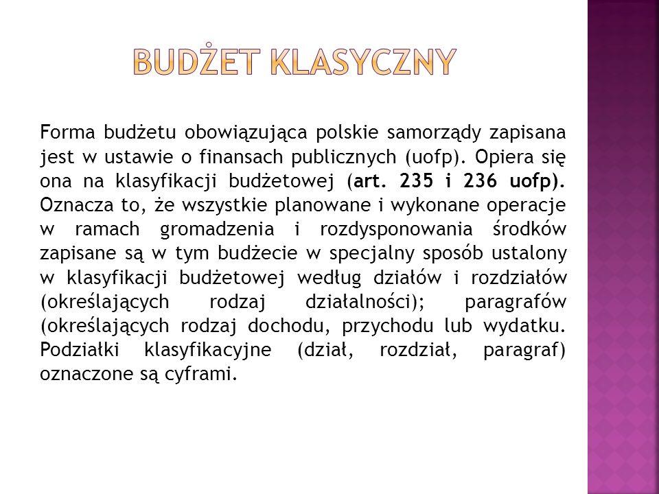 Forma budżetu obowiązująca polskie samorządy zapisana jest w ustawie o finansach publicznych (uofp). Opiera się ona na klasyfikacji budżetowej (art. 2