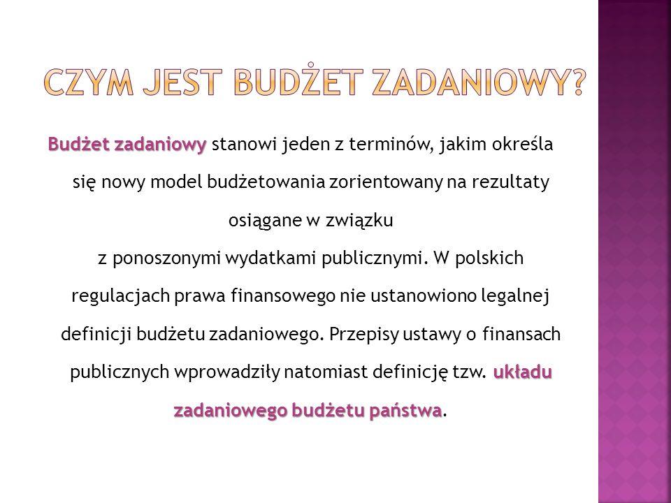 Ustawa z 27 sierpnia 2009 roku o finansach publicznych Art.2 3) Układ zadaniowy – zestawienie odpowiednio wydatków budżetu państwa lub kosztów jednostki sektora finansów publicznych sporządzone według funkcji państwa oznaczających poszczególne obszary działań państwa oraz: a) zadań budżetowych, grupujących wydatki według celów, b) podzadań budżetowych, grupujących działania, których realizacja wpływa na osiągnięcie celów określonych na szczeblu zadania – wraz z opisem celów tych zadań i podzadań, a także z bazowymi i docelowymi miernikami stopnia realizacji celów działalności państwa, oznaczającymi ilościowe, wartościowe lub opisowe określenie bazowego i docelowego poziomu efektów z poniesionych nakładów Art.23.