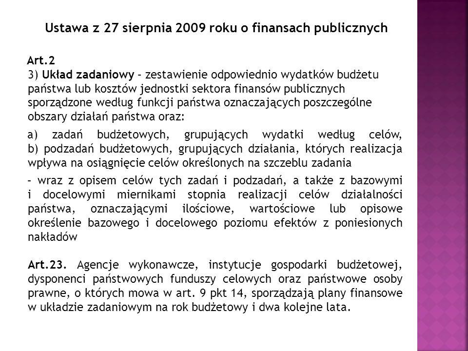 Ustawa z 27 sierpnia 2009 roku o finansach publicznych Art.2 3) Układ zadaniowy – zestawienie odpowiednio wydatków budżetu państwa lub kosztów jednost
