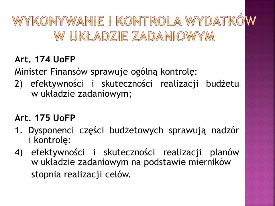 Art. 174 UoFP Minister Finansów sprawuje ogólną kontrolę: 2) efektywności i skuteczności realizacji budżetu w układzie zadaniowym; Art. 175 UoFP 1. Dy