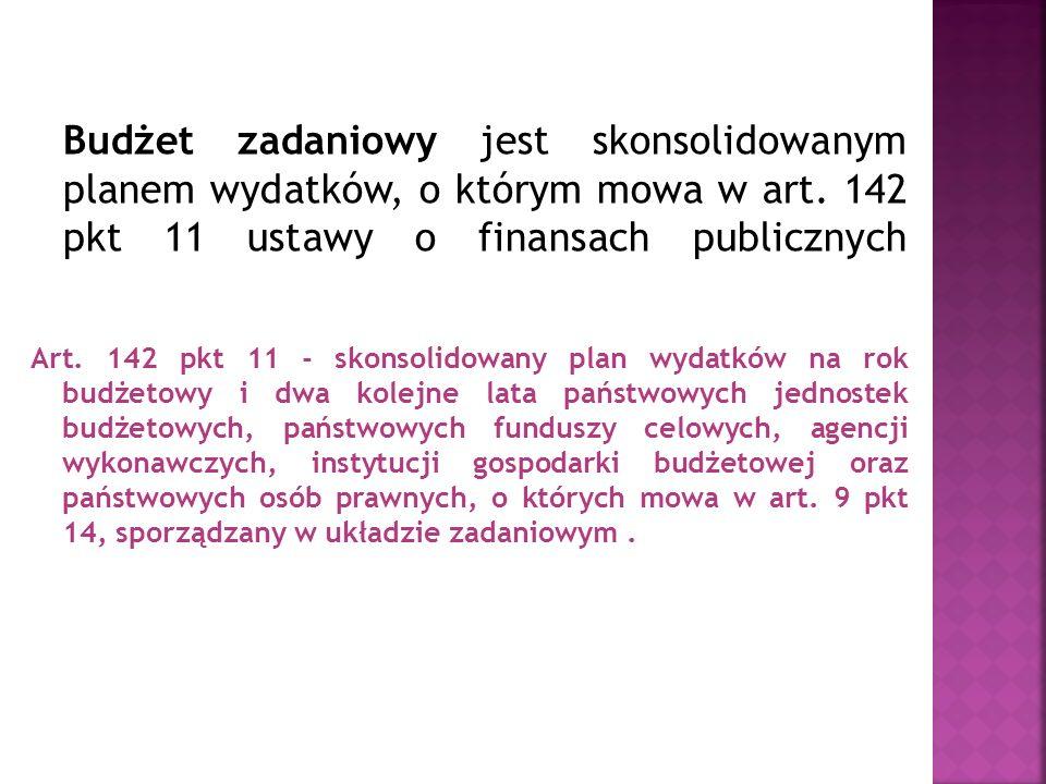 Budżet zadaniowy jest skonsolidowanym planem wydatków, o którym mowa w art. 142 pkt 11 ustawy o finansach publicznych Art. 142 pkt 11 - skonsolidowany