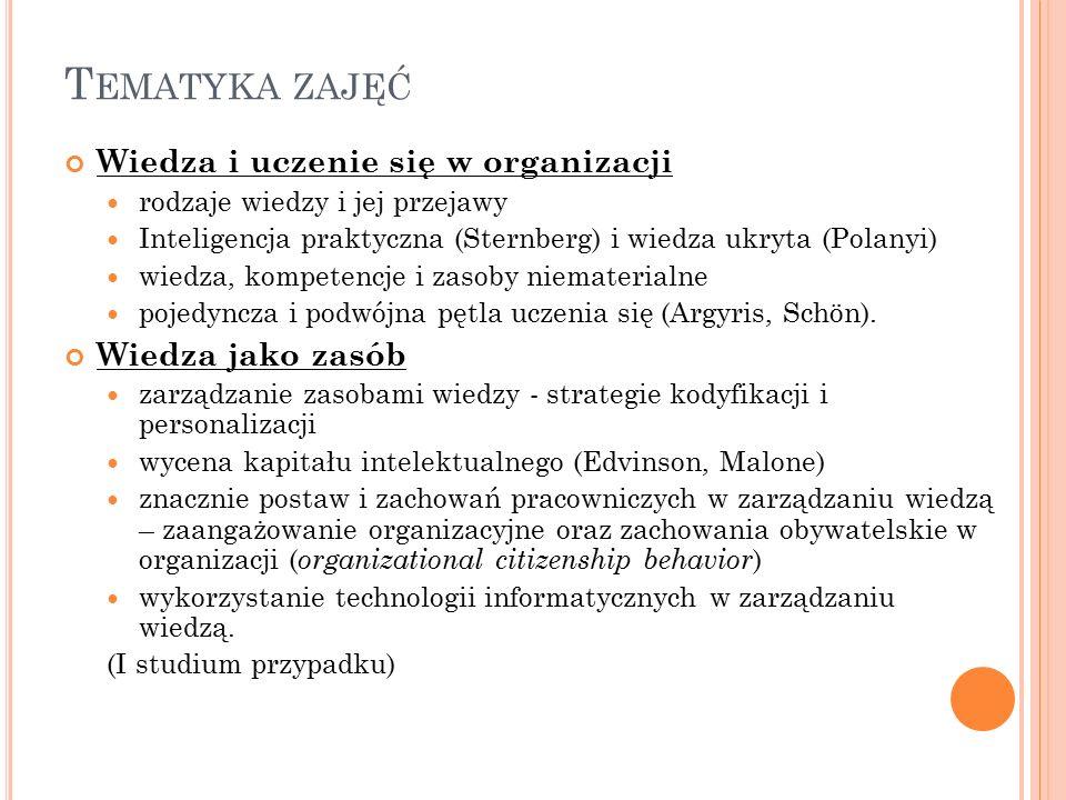 T EMATYKA ZAJĘĆ Wiedza i uczenie się w organizacji rodzaje wiedzy i jej przejawy Inteligencja praktyczna (Sternberg) i wiedza ukryta (Polanyi) wiedza, kompetencje i zasoby niematerialne pojedyncza i podwójna pętla uczenia się (Argyris, Schön).