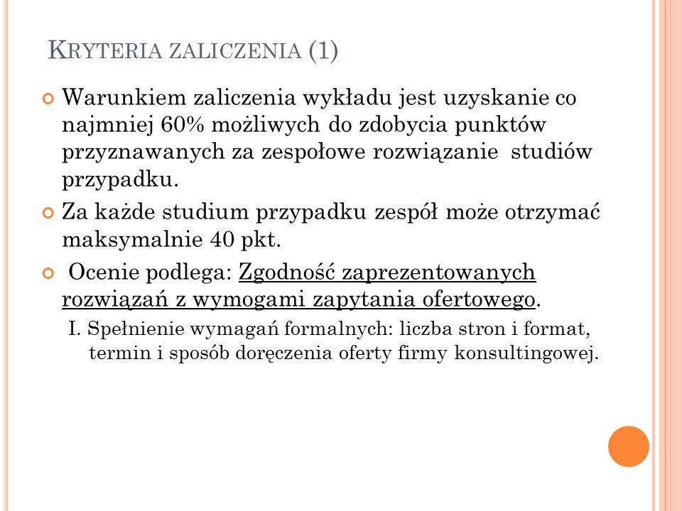 K RYTERIA ZALICZENIA (2) II.Spełnienie kryteriów merytorycznych: 1.