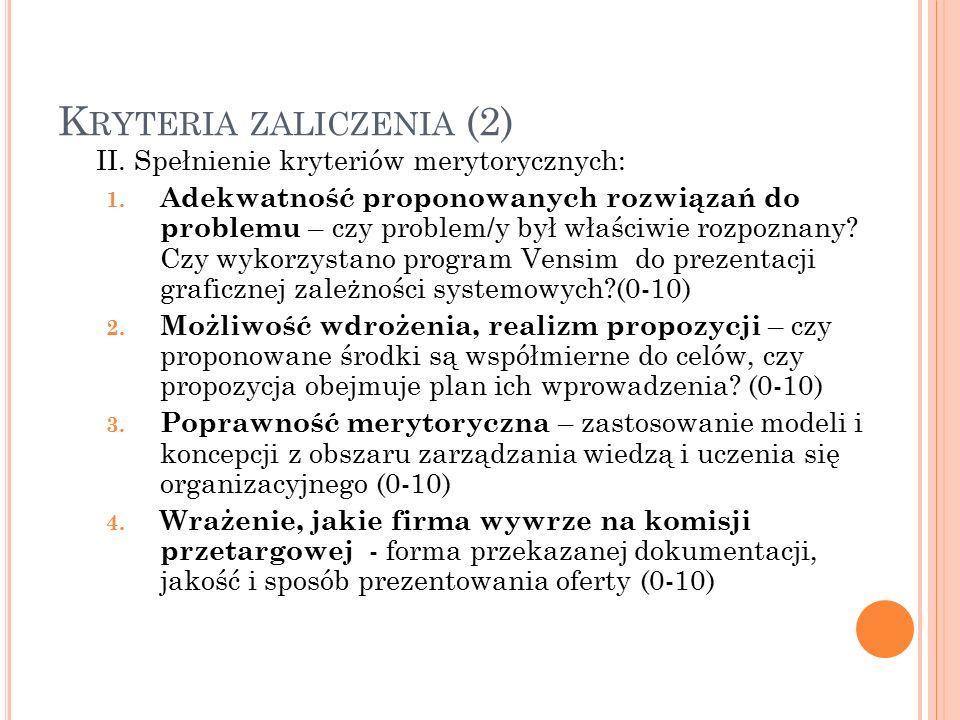 K RYTERIA ZALICZENIA (2) II. Spełnienie kryteriów merytorycznych: 1.
