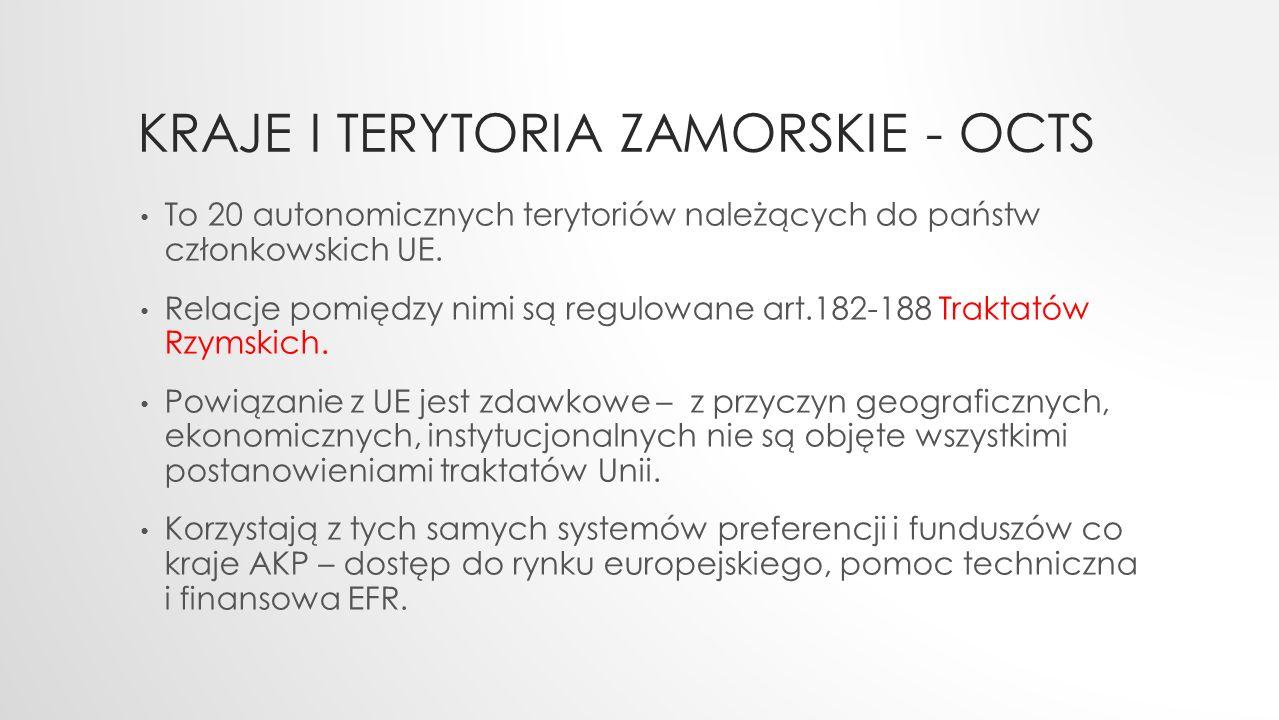 KRAJE I TERYTORIA ZAMORSKIE - OCTS To 20 autonomicznych terytoriów należących do państw członkowskich UE.