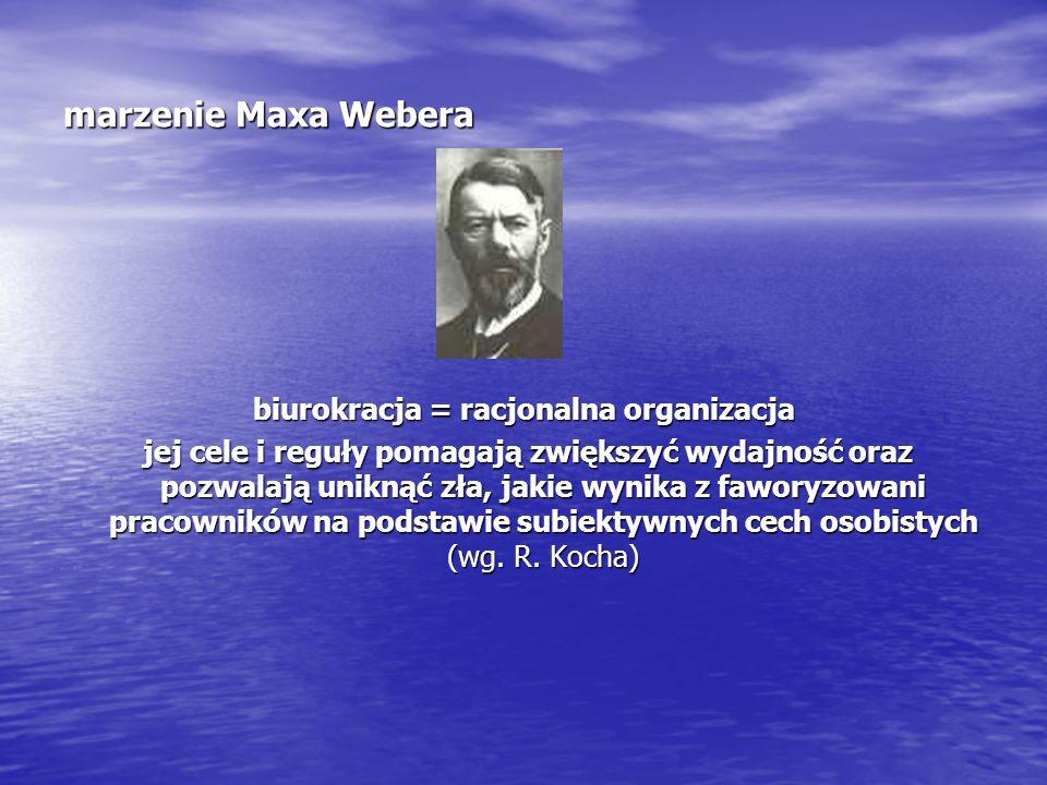 """biurokracja idealna (http://www.netencyclo.com/pl/Biurokracja) """"Zatrudnieni w urzędzie podlegają władzy jedynie w zakresie swoich oficjalnych obowiązków o bezosobowym charakterze."""