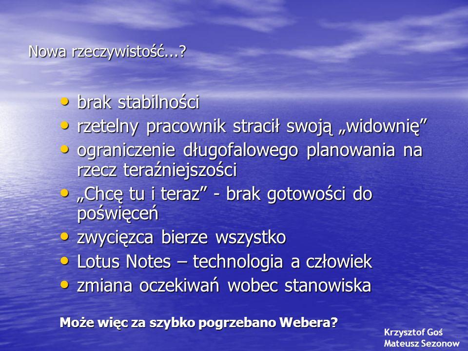 """Kryzys giełdowy' 2007 a kształt zasobów ludzkich organizacji w (najbliższej) przyszłości Richard Sennett """"Kapitalizm pokazuje światu nową twarz (""""Dziennik, 27-28/09/2008) z wykorzystaniem refleksji Leszka Dubickiego Kryzys giełdowy' 2007 a kształt zasobów ludzkich organizacji w (najbliższej) przyszłości Richard Sennett """"Kapitalizm pokazuje światu nową twarz (""""Dziennik, 27-28/09/2008) z wykorzystaniem refleksji Leszka Dubickiego gospodarka rynkowa ma charakter sinusoidalny i wszyscy spodziewają się, że nadchodzi okres kryzysu, z czym będzie wiązało się obniżenie popytu i bezrobocie gospodarka rynkowa ma charakter sinusoidalny i wszyscy spodziewają się, że nadchodzi okres kryzysu, z czym będzie wiązało się obniżenie popytu i bezrobocie nadchodzi brak miejsc pracy w sektorze bankowym nadchodzi brak miejsc pracy w sektorze bankowym i informatycznym (dotyczy to wyłącznie krajów wysoko rozwiniętych) środowisko naturalne jest ważnym, ciągle niewystarczająco docenianym i niedoinwestowanym obszarem, którym społeczeństwo światowe musi zająć się dużo poważniej, niż robi to dotychczas; tu szanse na miejsca pracy środowisko naturalne jest ważnym, ciągle niewystarczająco docenianym i niedoinwestowanym obszarem, którym społeczeństwo światowe musi zająć się dużo poważniej, niż robi to dotychczas; tu szanse na miejsca pracy"""