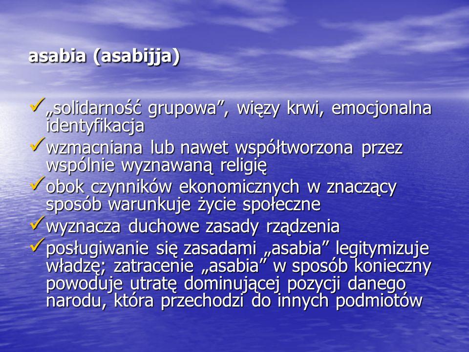 """asabia (asabijja) """"solidarność grupowa"""", więzy krwi, emocjonalna identyfikacja """"solidarność grupowa"""", więzy krwi, emocjonalna identyfikacja wzmacniana"""