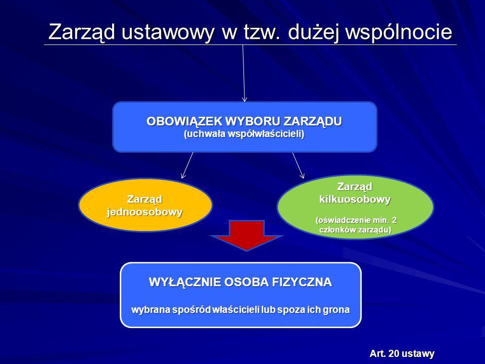 Zarząd ustawowy w tzw. dużej wspólnocie OBOWIĄZEK WYBORU ZARZĄDU (uchwała współwłaścicieli) Art.