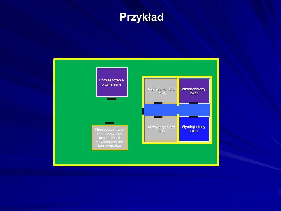 Przykład Wyodrębniony lokal Niewyodrębniony lokal Wyodrębniony lokal Niewyodrębnione pomieszczenie przynależne / niewyodrębniony lokal użytkowy Pomieszczenie przynależne