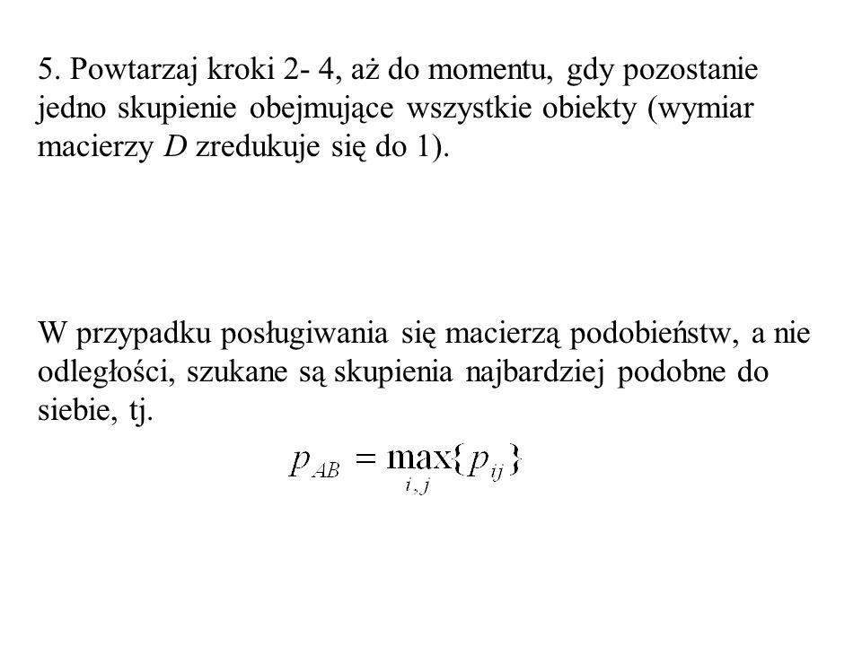5. Powtarzaj kroki 2- 4, aż do momentu, gdy pozostanie jedno skupienie obejmujące wszystkie obiekty (wymiar macierzy D zredukuje się do 1). W przypadk