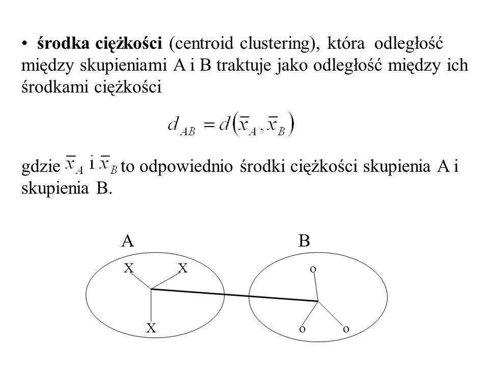 środka ciężkości (centroid clustering), która odległość między skupieniami A i B traktuje jako odległość między ich środkami ciężkości gdzie to odpowiednio środki ciężkości skupienia A i skupienia B.