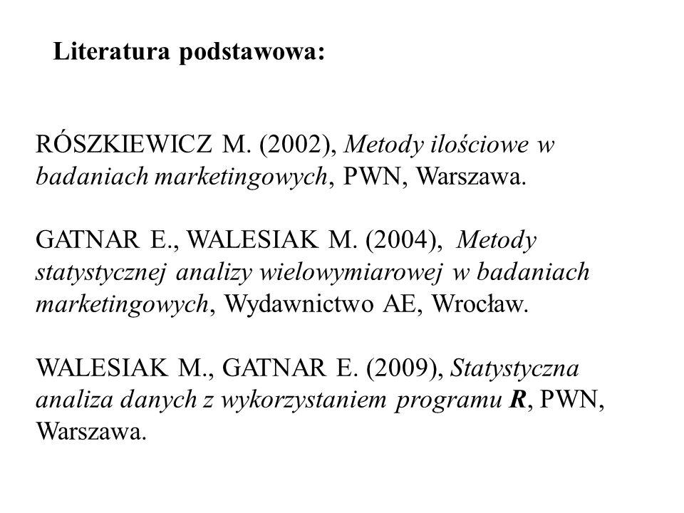 RÓSZKIEWICZ M. (2002), Metody ilościowe w badaniach marketingowych, PWN, Warszawa. GATNAR E., WALESIAK M. (2004), Metody statystycznej analizy wielowy