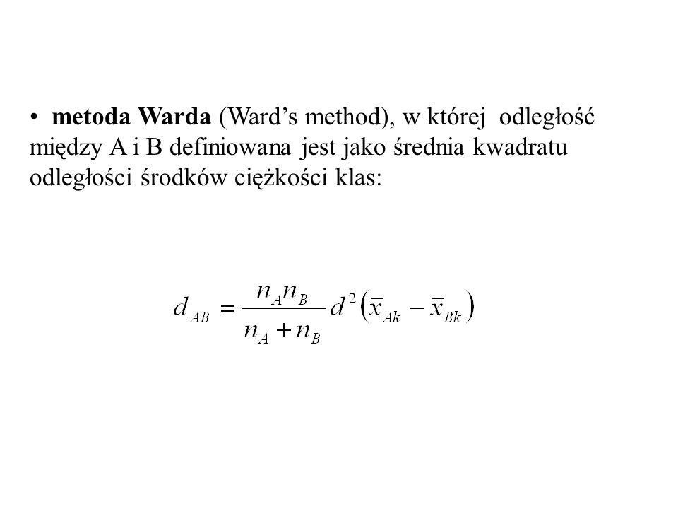 metoda Warda (Ward's method), w której odległość między A i B definiowana jest jako średnia kwadratu odległości środków ciężkości klas:
