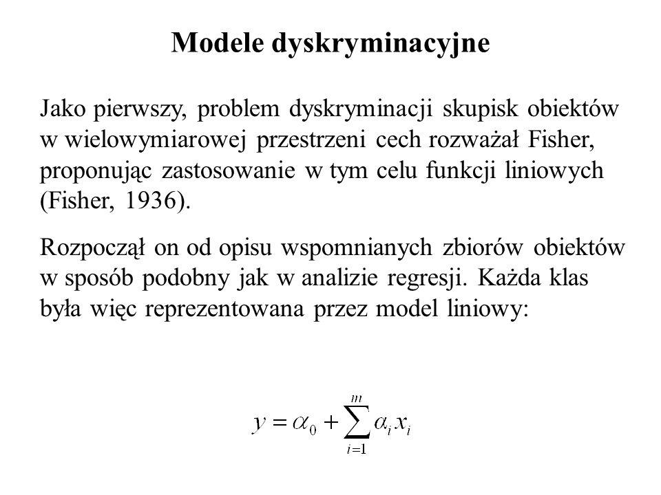 Modele dyskryminacyjne Jako pierwszy, problem dyskryminacji skupisk obiektów w wielowymiarowej przestrzeni cech rozważał Fisher, proponując zastosowanie w tym celu funkcji liniowych (Fisher, 1936).