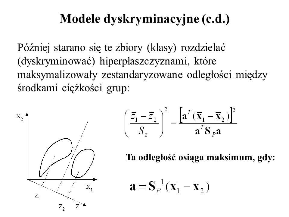 Modele dyskryminacyjne (c.d.) Później starano się te zbiory (klasy) rozdzielać (dyskryminować) hiperpłaszczyznami, które maksymalizowały zestandaryzowane odległości między środkami ciężkości grup: Ta odległość osiąga maksimum, gdy: