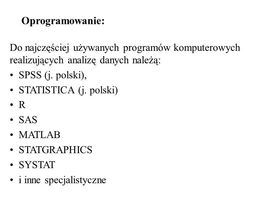 Do najczęściej używanych programów komputerowych realizujących analizę danych należą: SPSS (j. polski), STATISTICA (j. polski) R SAS MATLAB STATGRAPHI