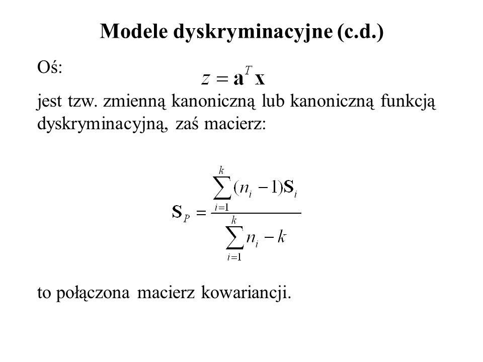 Modele dyskryminacyjne (c.d.) Oś: jest tzw. zmienną kanoniczną lub kanoniczną funkcją dyskryminacyjną, zaś macierz: to połączona macierz kowariancji.
