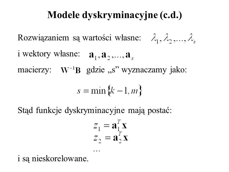 """Modele dyskryminacyjne (c.d.) Rozwiązaniem są wartości własne: i wektory własne: macierzy: gdzie """"s wyznaczamy jako: Stąd funkcje dyskryminacyjne mają postać: i są nieskorelowane."""