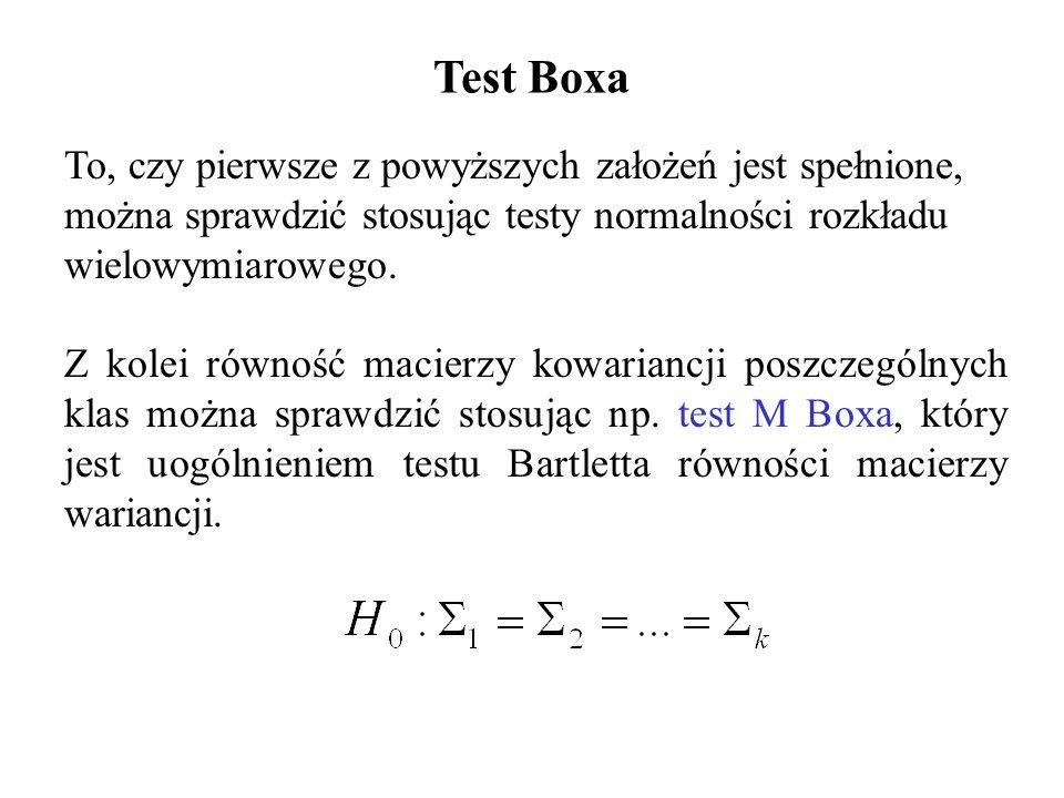 To, czy pierwsze z powyższych założeń jest spełnione, można sprawdzić stosując testy normalności rozkładu wielowymiarowego. Z kolei równość macierzy k