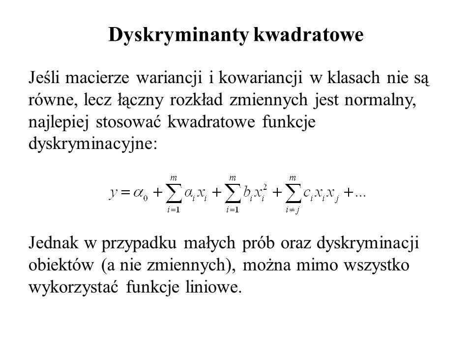 Jeśli macierze wariancji i kowariancji w klasach nie są równe, lecz łączny rozkład zmiennych jest normalny, najlepiej stosować kwadratowe funkcje dysk