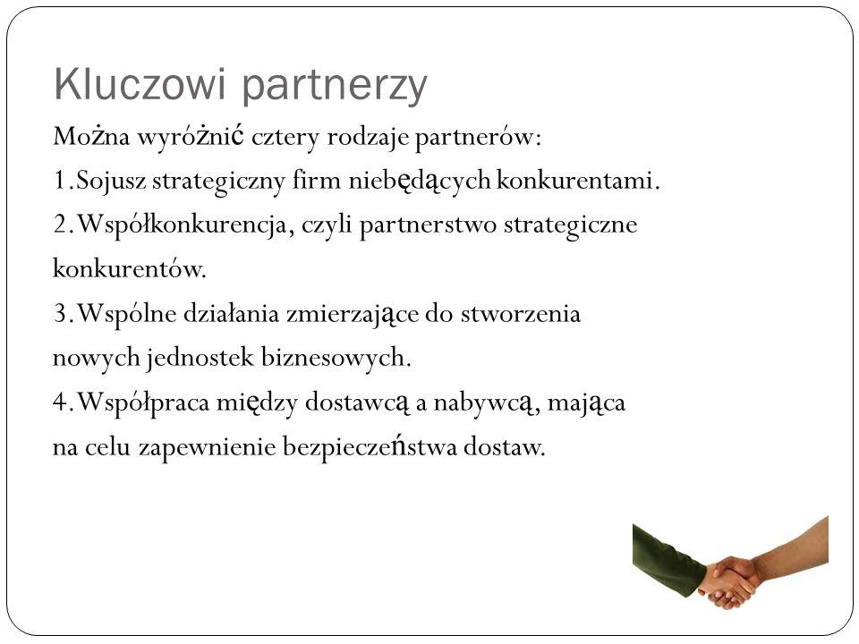 Kluczowi partnerzy Mo ż na wyró ż ni ć cztery rodzaje partnerów: 1.Sojusz strategiczny firm nieb ę d ą cych konkurentami.