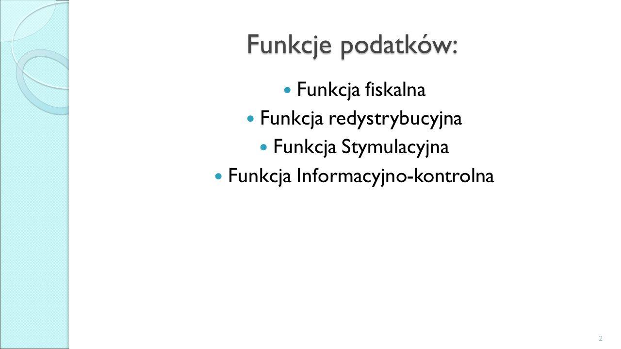 Funkcje podatków: Funkcja fiskalna Funkcja redystrybucyjna Funkcja Stymulacyjna Funkcja Informacyjno-kontrolna 2