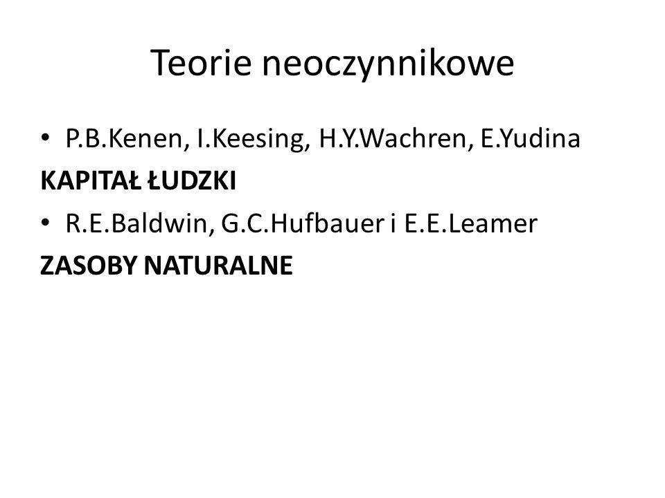Teorie neoczynnikowe P.B.Kenen, I.Keesing, H.Y.Wachren, E.Yudina KAPITAŁ ŁUDZKI R.E.Baldwin, G.C.Hufbauer i E.E.Leamer ZASOBY NATURALNE