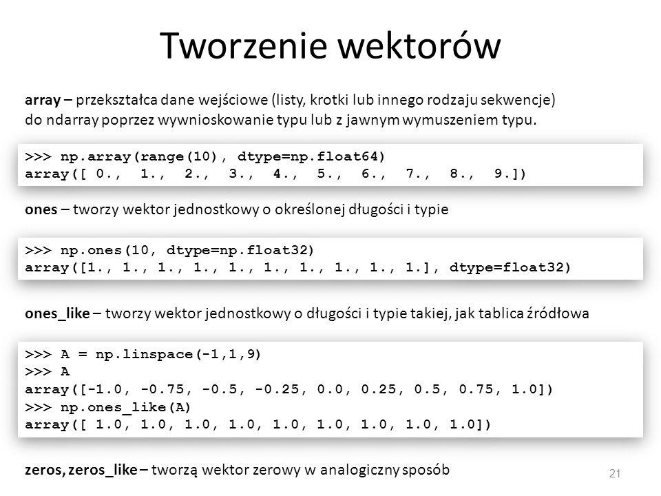 Tworzenie wektorów 21 array – przekształca dane wejściowe (listy, krotki lub innego rodzaju sekwencje) do ndarray poprzez wywnioskowanie typu lub z jawnym wymuszeniem typu.