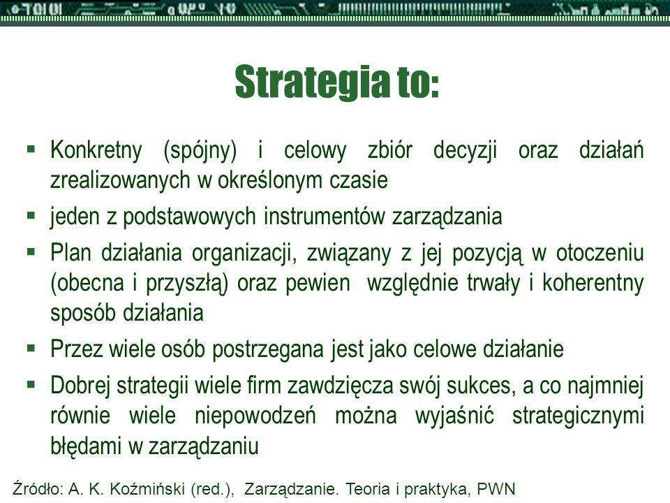Strategia to:  Konkretny (spójny) i celowy zbiór decyzji oraz działań zrealizowanych w określonym czasie  jeden z podstawowych instrumentów zarządzania  Plan działania organizacji, związany z jej pozycją w otoczeniu (obecna i przyszłą) oraz pewien względnie trwały i koherentny sposób działania  Przez wiele osób postrzegana jest jako celowe działanie  Dobrej strategii wiele firm zawdzięcza swój sukces, a co najmniej równie wiele niepowodzeń można wyjaśnić strategicznymi błędami w zarządzaniu Źródło: A.