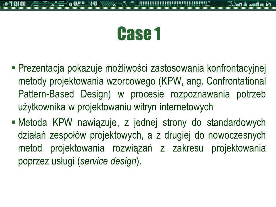 Case 1  Prezentacja pokazuje możliwości zastosowania konfrontacyjnej metody projektowania wzorcowego (KPW, ang. Confrontational Pattern-Based Design)