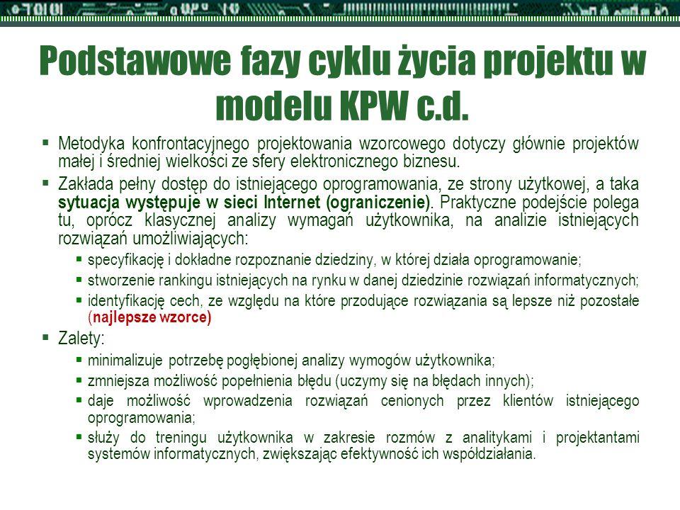 Podstawowe fazy cyklu życia projektu w modelu KPW c.d.  Metodyka konfrontacyjnego projektowania wzorcowego dotyczy głównie projektów małej i średniej