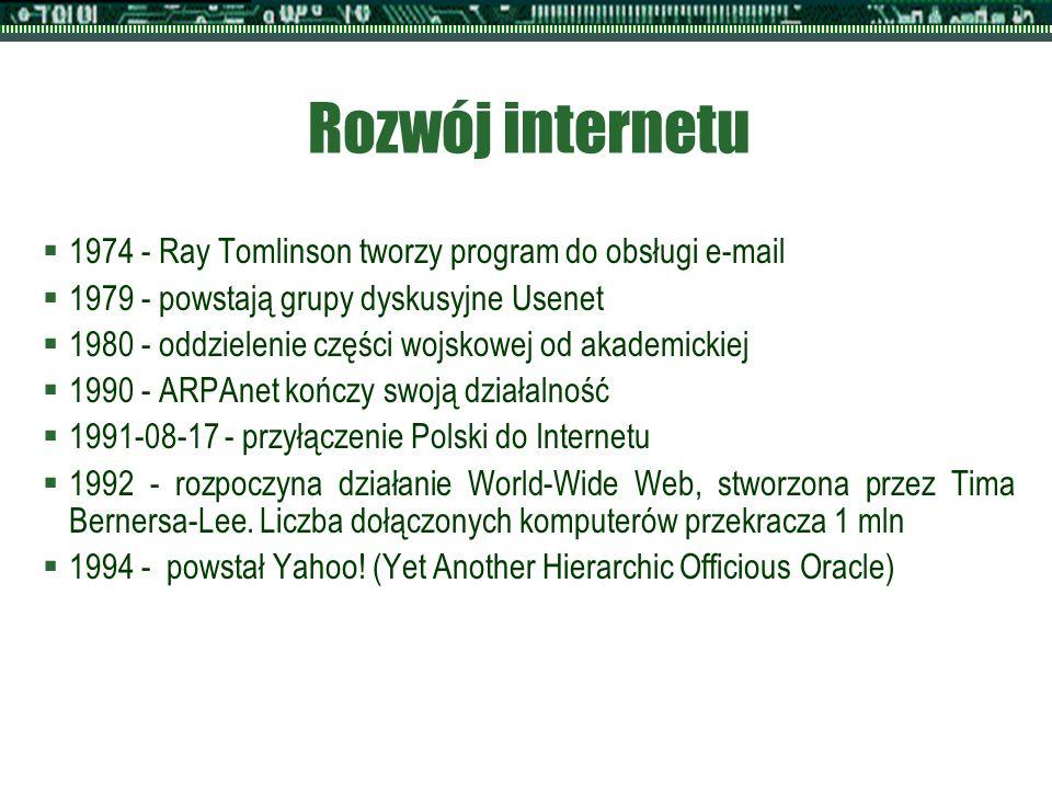 Rozwój internetu  1974 - Ray Tomlinson tworzy program do obsługi e-mail  1979 - powstają grupy dyskusyjne Usenet  1980 - oddzielenie części wojskowej od akademickiej  1990 - ARPAnet kończy swoją działalność  1991-08-17 - przyłączenie Polski do Internetu  1992 - rozpoczyna działanie World-Wide Web, stworzona przez Tima Bernersa-Lee.