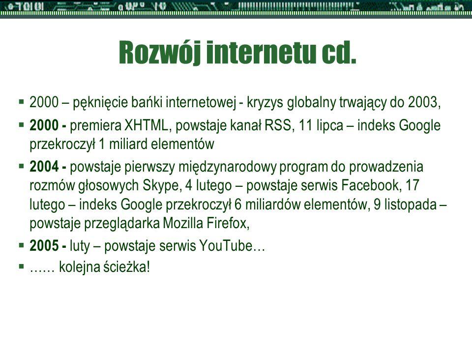 Rozwój internetu cd.  2000 – pęknięcie bańki internetowej - kryzys globalny trwający do 2003,  2000 - premiera XHTML, powstaje kanał RSS, 11 lipca –