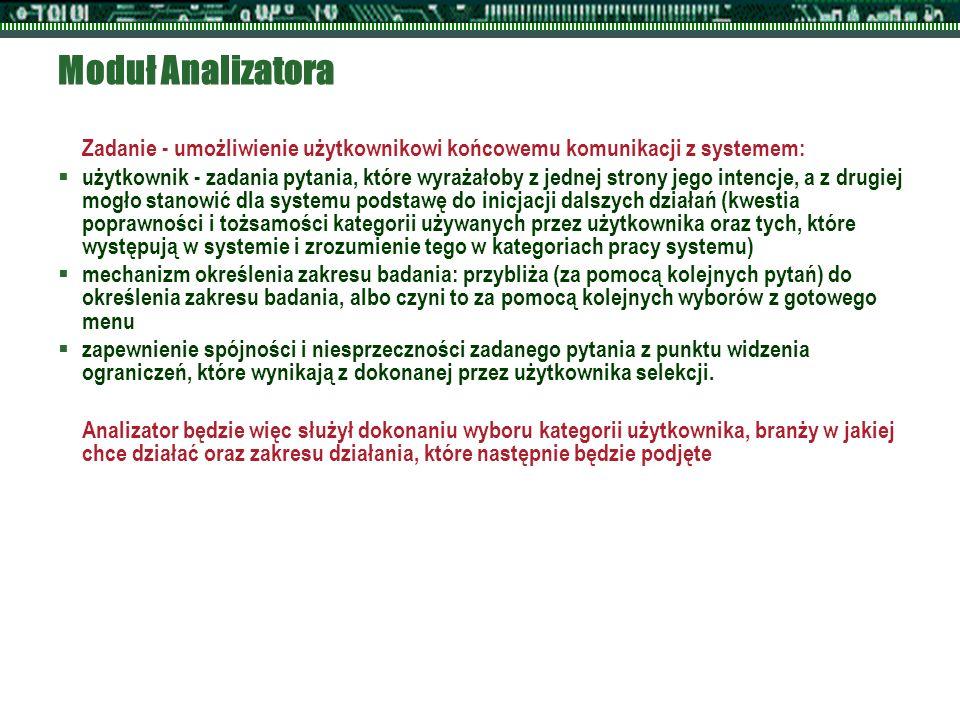 Moduł Analizatora Zadanie - umożliwienie użytkownikowi końcowemu komunikacji z systemem:  użytkownik - zadania pytania, które wyrażałoby z jednej str