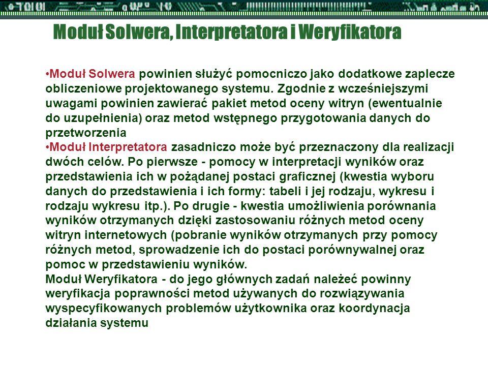 Moduł Solwera, Interpretatora i Weryfikatora Moduł Solwera powinien służyć pomocniczo jako dodatkowe zaplecze obliczeniowe projektowanego systemu. Zgo