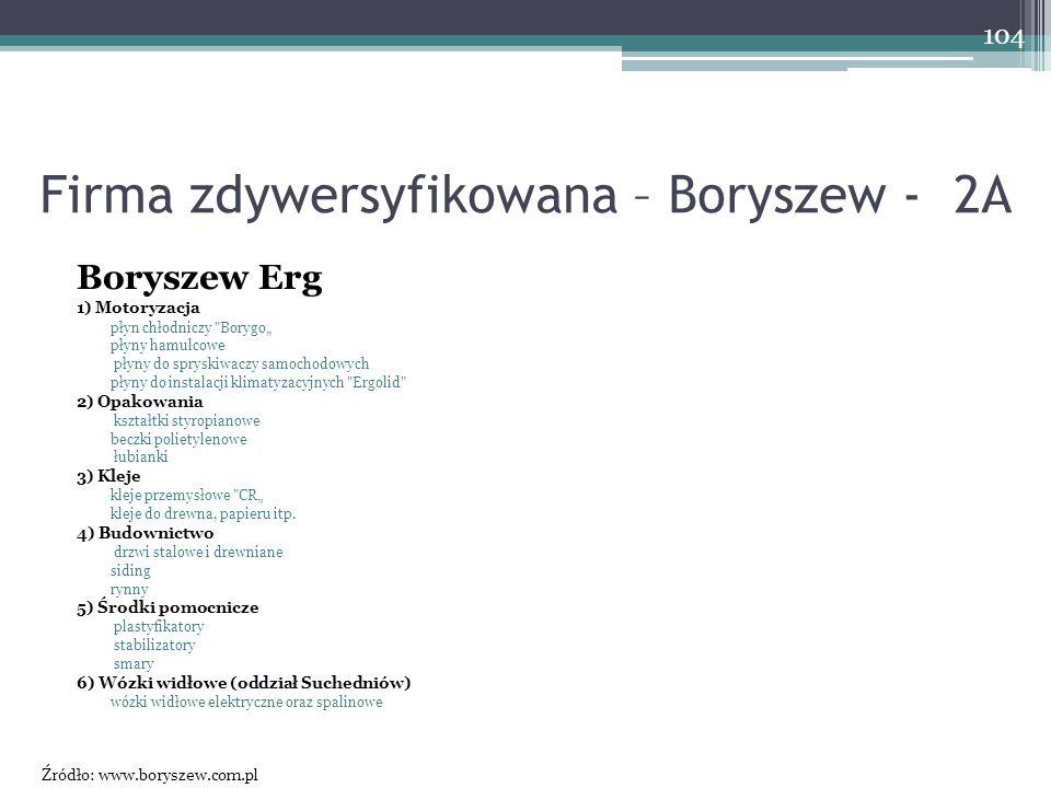 Firma zdywersyfikowana – Boryszew - 2A Boryszew Erg 1) Motoryzacja płyn chłodniczy