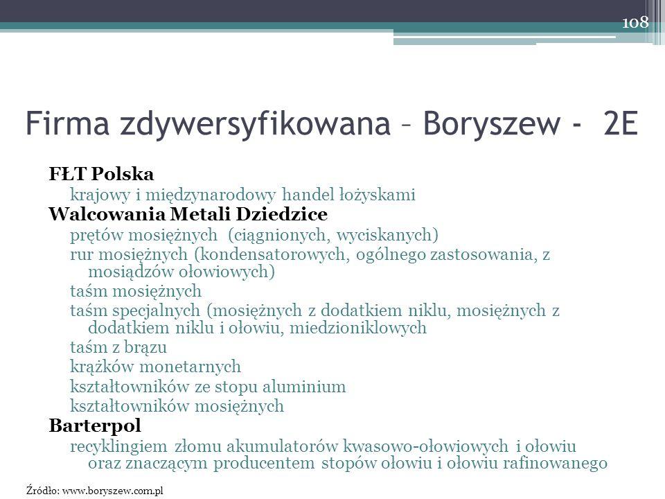 Firma zdywersyfikowana – Boryszew - 2E FŁT Polska krajowy i międzynarodowy handel łożyskami Walcowania Metali Dziedzice prętów mosiężnych (ciągnionych