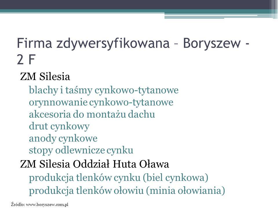 Firma zdywersyfikowana – Boryszew - 2 F ZM Silesia blachy i taśmy cynkowo-tytanowe orynnowanie cynkowo-tytanowe akcesoria do montażu dachu drut cynkow