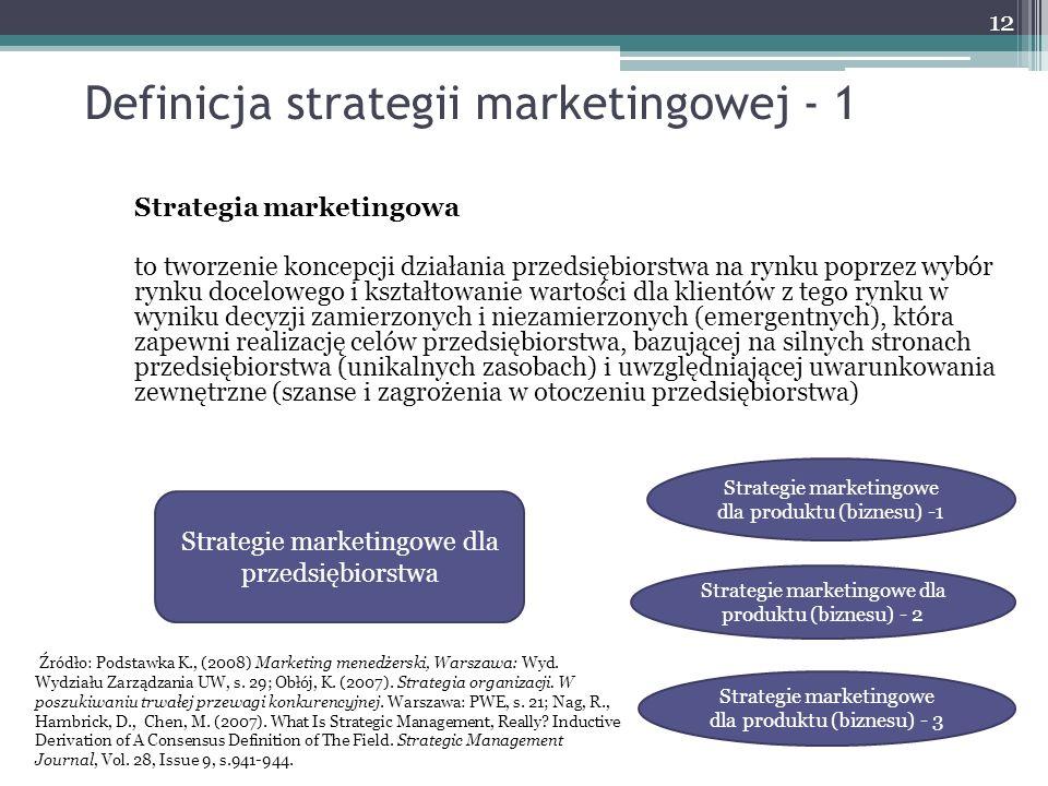Definicja strategii marketingowej - 1 Strategia marketingowa to tworzenie koncepcji działania przedsiębiorstwa na rynku poprzez wybór rynku docelowego