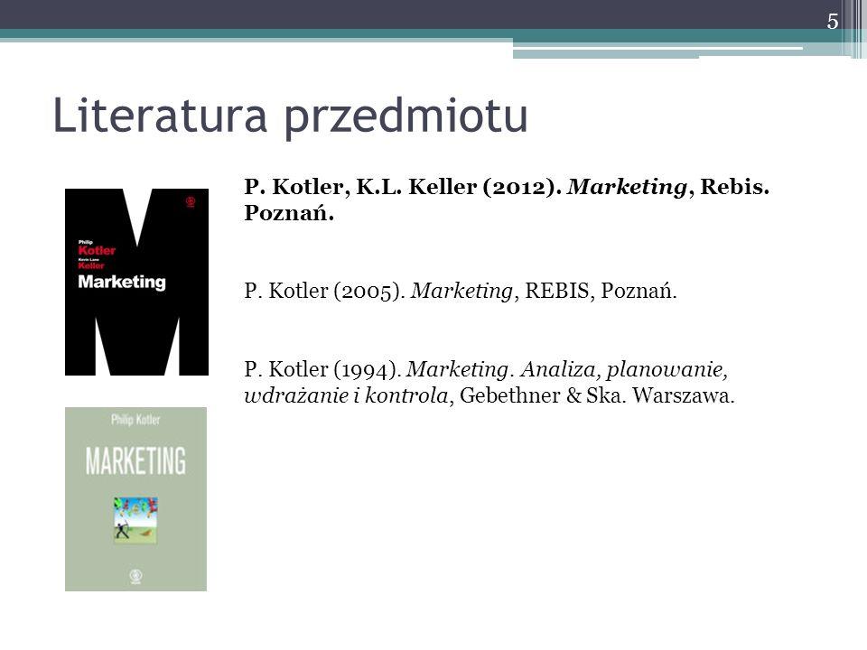 Literatura przedmiotu P. Kotler, K.L. Keller (2012). Marketing, Rebis. Poznań. P. Kotler (2005). Marketing, REBIS, Poznań. P. Kotler (1994). Marketing