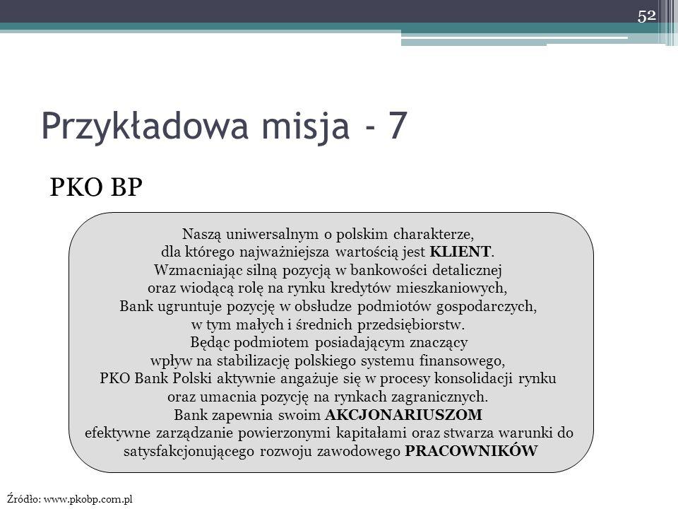 Przykładowa misja - 7 PKO BP Naszą uniwersalnym o polskim charakterze, dla którego najważniejsza wartością jest KLIENT. Wzmacniając silną pozycją w ba